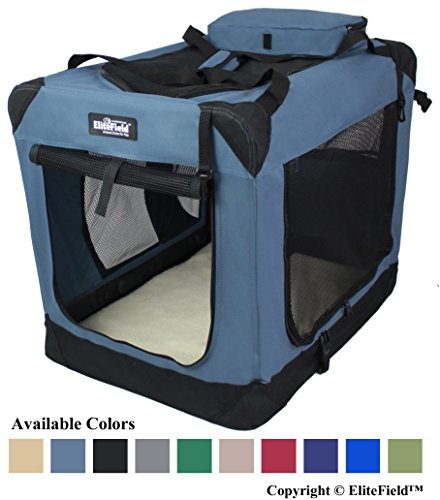 EliteField 3-Door Folding Soft Dog Crate, Indoor & Outdoor Pet Home, Multiple Sizes and Colors Available (42″ L x 28″ W x 32″ H, Blue Gray)