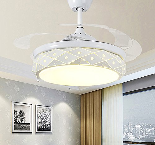 Yue Jia 42 Inch Promoting Natural Ventilation White Invisible Fan Modern Luxury Dimmable (Warm/Daylight/Cool White) Chandelier Foldable Ceiling Fans With Lights Ceiling Fans with Remote Control by YUEJIA (Image #3)