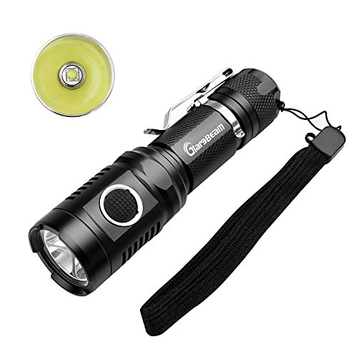 GiareBeam USB Rechargeable Flashlight Super Bright Pocket Torch LG2 LED 1000 Lumen with Built-In Micro-USB Port & LumenTac USB Charge Cable