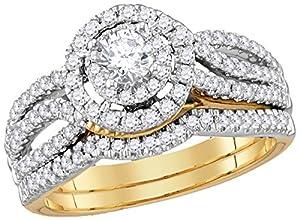 14kt Yellow Gold Womens Diamond Round EGL Bridal Wedding Engagement Ring Band Set 1.00 Cttw
