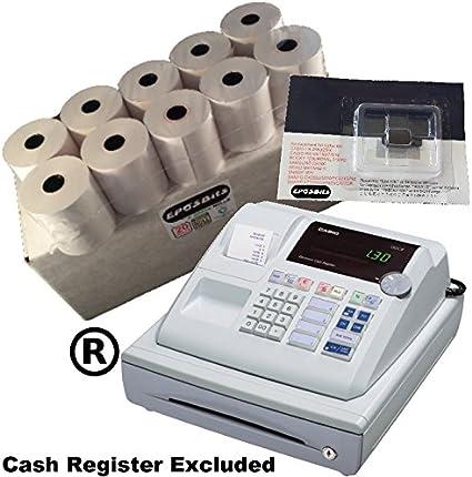 eposbits® marca 20 rollos + 1 x de tinta para Casio pcr262 PCR 262 pcr-262 caja registradora: Amazon.es: Oficina y papelería