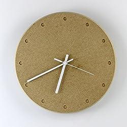 BABYQUEEN 14 Inch Creative Personality Wall Clock Modern Minimalist Style Wooden Living Room Bedroom Restaurant Mute Quartz Clock Yellow