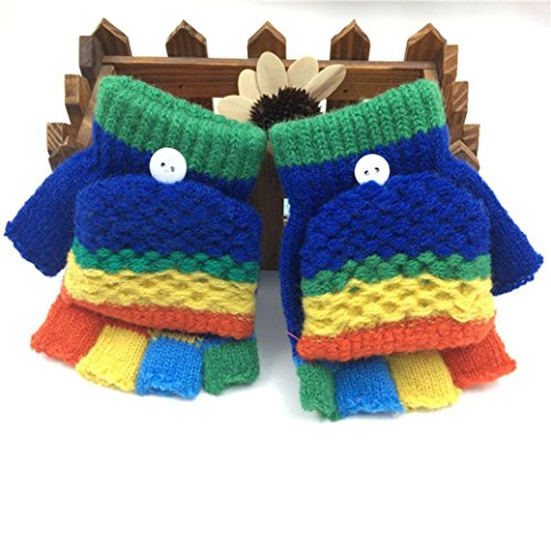 Toddler Baby Girls Cute Boys Thicken Winter Warm Patchwork Gloves With Mitten Cover (Dark Blue)