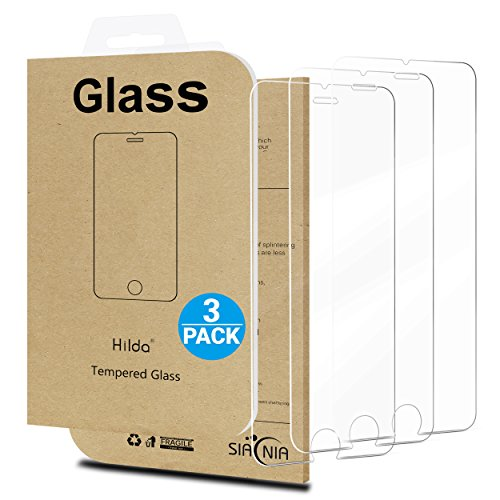 iPhone 7 Screen Protector,[3 Packs]by Hilda,Curved Edge Tempered Glass,Bubble Free,Anti-Fingerprint,Oil Stain&Scratch Coating,Case Friendly,Siania Retail Package
