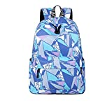 Fashion Waterproof Polyester Women Backpack Panelled Mixed Drawing Printing Large Capacity Travelling Female Knapsack Multi 14 Inches