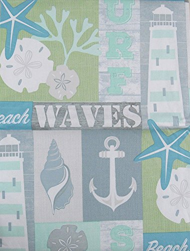 Ocean Surf, Beach and Waves Marine Patchwork Vinyl Flannel Back Tablecloth (52