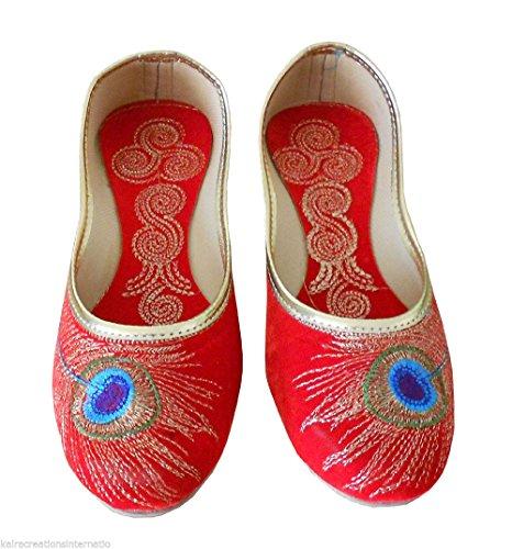Creations de Mujeres diseñador Kalra terciopelo rojos tradicional indio zapatos artesanal PwBxqqn4d