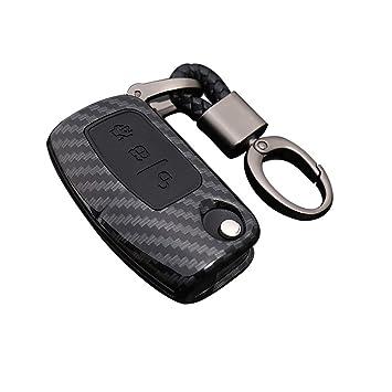 Happyit ABS Fibra de Carbono Shell + Silicona Llave del Coche Cubrir Caso Llavero para Ford Focus Mondeo Edge Fiesta Kuga Mondeo MK4 Fusion Escort ...
