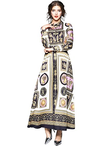 Baroque Print Dress (Women's Baroque Print Long Sleeve A-line Maxi Dresses (XXL, Brown))