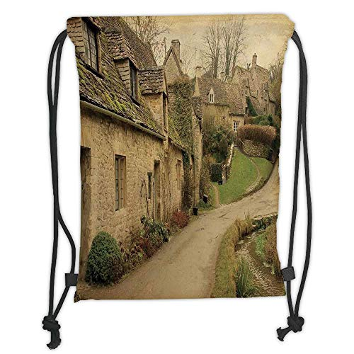 (New Fashion Gym Drawstring Backpacks Bags,Farm House Decor,British Town with Stone Houses Retro England Countryside Buildings Image,Grey Green Soft Satin,Adjustable String Closure)