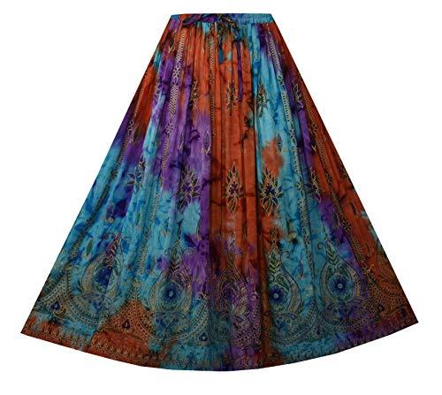 Decoraapparel Women Clothing A-Line Long Skirt Black Blue Green Modest Fashion Beach Wear Skir (P259 Tie Dye, One Size)