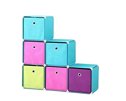 Superior StorageManiac Stackable Storage Cubes, Storage Cabinet With 6 Storage Bins,  6 Cube Organizer,