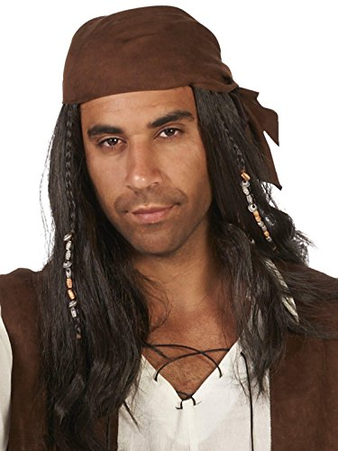 Dream Weavers Costumers Brown Pirate with Beads Adult Wig ()