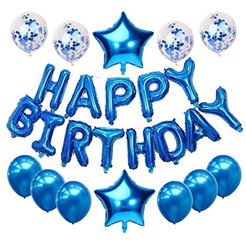 Haimimall Happy Birthday Balloons Set Blue-13pcs Letters Balloons 2pcs Giant Star Foil Balloons 4pcs Confetti Balloons 6pcs Latex Balloons Birthday Party Decorations and Supplies Ballons -