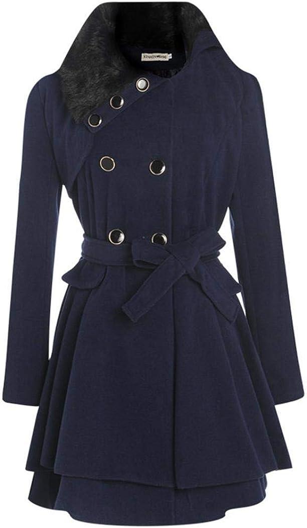 ODlover Women Casual A-line Pleated Double Layers Hem Coat Outwear Wool /& Blends Navy Blue