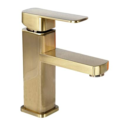 antique brushed brass bathroom sink faucet single handle vessel sink rh amazon com brass single lever bathroom faucet polished brass single handle bathroom faucet