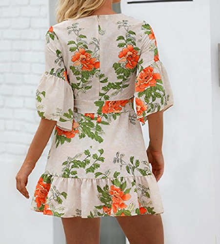 Dresses Coolred Beach Printing Flouncing Pattern Bandage Sun Mini Women White1 Sexy AFWqAzrRc
