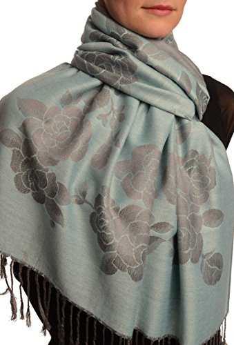 Roses On Powder Blue Pashmina Feel With Tassels - Bleu ?charpe Taille Unique - 70cm x 180cm