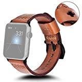 KADES Replacement Band Compatible for Apple Watch Series 3 2 1 [Retro Top Grain Genuine Leather]- Dark Brown Band + Black Hardware