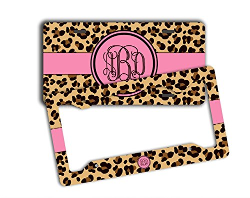 Monogrammed license plate and frame - Cheetah print with hot pink and your monogram - Personalized car tag front license plate [SET] (Cheetah Print License Plate)