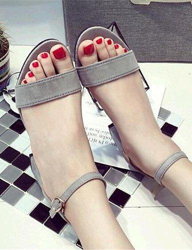 ShangYi Women's Shoes Fleece Chunky Heel Heels Sandals Casual Black / Gray Grey Lq1WO