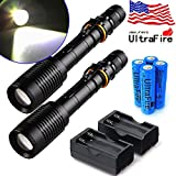 Tactical Police 20000Lumens T6 5Modes LED Flashlight Aluminum Torch Zoomable USA three choices (2x flashlight+ 4battery+2charger)