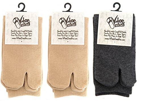 V-Toe Khaki & Gunmetal Grey Tabi Flip Flop Socks - 3 Pairs (Metal Womens Socks)
