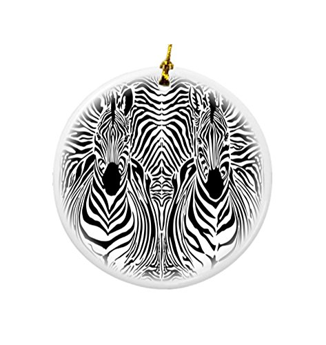 Rikki Knight Zebra Illusions Illustration Design Round Porcelain Two-Sided Christmas Ornaments