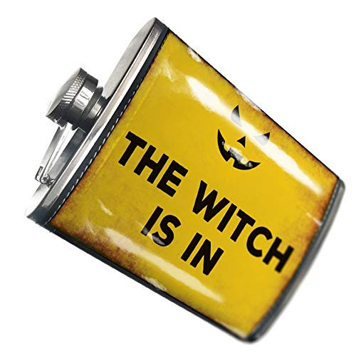 NEONBLOND Flask The Witch Is In Halloween Jack-O'-Lantern Hip Flask PU Leather Stainless Steel -