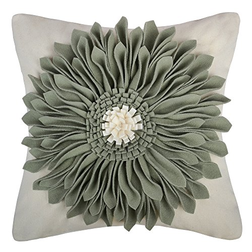 OiseauVoler 3D Sunflowers Handmade Throw Pillow Cases Faux Wool Decorative Cushion Covers Canvas Pillowcases Home Sofa Car Bed Room Decor 18 x 18 Inch Green