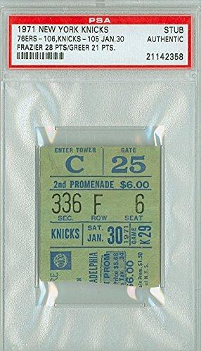 1971 New York Knicks Ticket Stub vs Philadelphia 76ers Walt Frazier 28 points Hal Greer 21 points - January 30, 1971 [[Grades G-VG, creases]] by Mickeys Cards