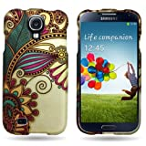 CoverON GOLD Hard Cover Case with GREEN ORANGE ANTIQUE FLOWER Design for SAMSUNG I9500 GALAXY S 4 S IV ATT / VERIZON / TMOBILE / SPRINT / US CELLULAR / CRICKET With PRY- Triangle Case Removal Tool [WCP484]