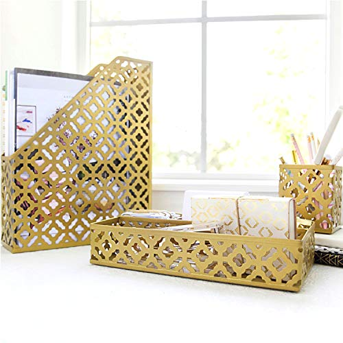 Blu Monaco Gold Desk Organizer for Women - 3 Piece Desk Accessories Set - Pen Cup, Magazine-File-Mail Holder, and Accessories Tray - Antique Gold Brass Finish Office Supplies Stationery Decor by Blu Monaco (Image #2)'