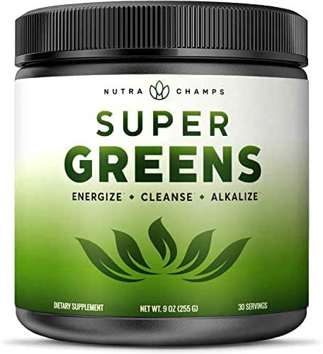 Super Greens Powder Premium Superfood - 20+ Organic Green Veggie Whole Foods - Wheat Grass, Spirulina, Chlorella & More - Antioxidant, Digestive Enzyme & Probiotic Blends | Vegan Juice Supplement