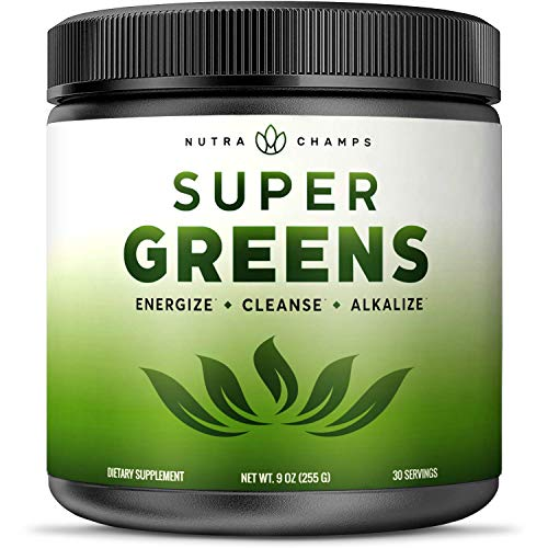 Super Greens Powder Premium Superfood - 20+ Organic Green Veggie Whole Foods - Wheat Grass, Spirulina, Chlorella & More - Antioxidant, Digestive Enzyme & Probiotic Blends | Vegan Juice Supplement ()