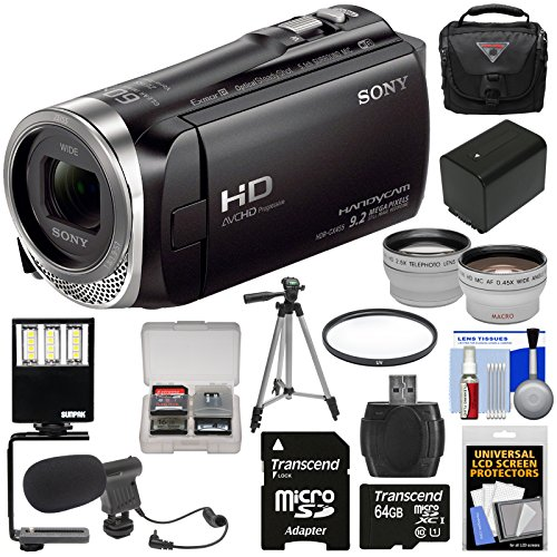 Sony Handycam HDR-CX455 8GB Wi-Fi HD Video Camera Camcorder with 64GB Card + Battery + Case + Tripod + LED Light + Microphone + Tele/Wide Lens Kit (Sony Hdr Cx900)