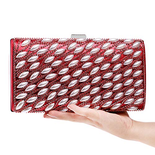 Party Chain Purse Evening Bags For Clutches Womens Bead Red Wallet Elegant Handbags gXvUYwqw