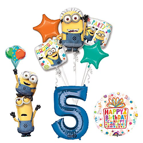 Despicable Me 3 Minions Stackers 5th Birthday Party Supplies and balloon Decorations (Despicable Me Birthday Decorations)