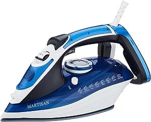 MARTISAN HL-8001 Steam Iron, 1800W Super Hot Ceramic Soleplate Iron, Anti-Drip, Anti-Calc, Self-Clean Function (Blue)