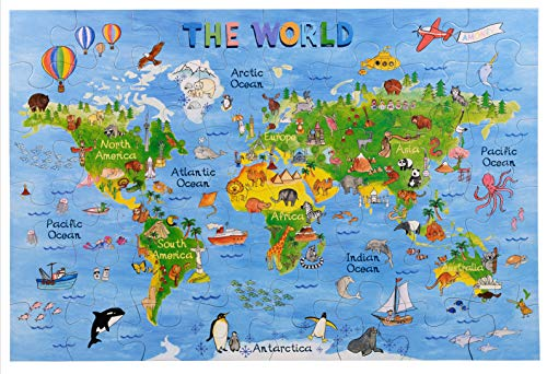 Amagenius World map Floor Puzzle with Great Thick Pieces which can Also be Used on a Table (World Puzzle) (Puzzle Map Floor Giant)