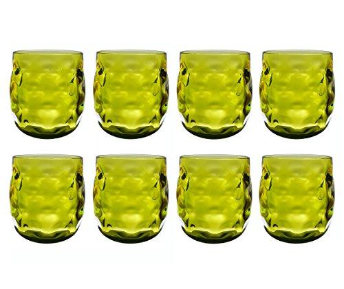QG Clear Colorful Acrylic Plastic 14 oz. Wine Glass Rock Tumbler Set of 8 Green
