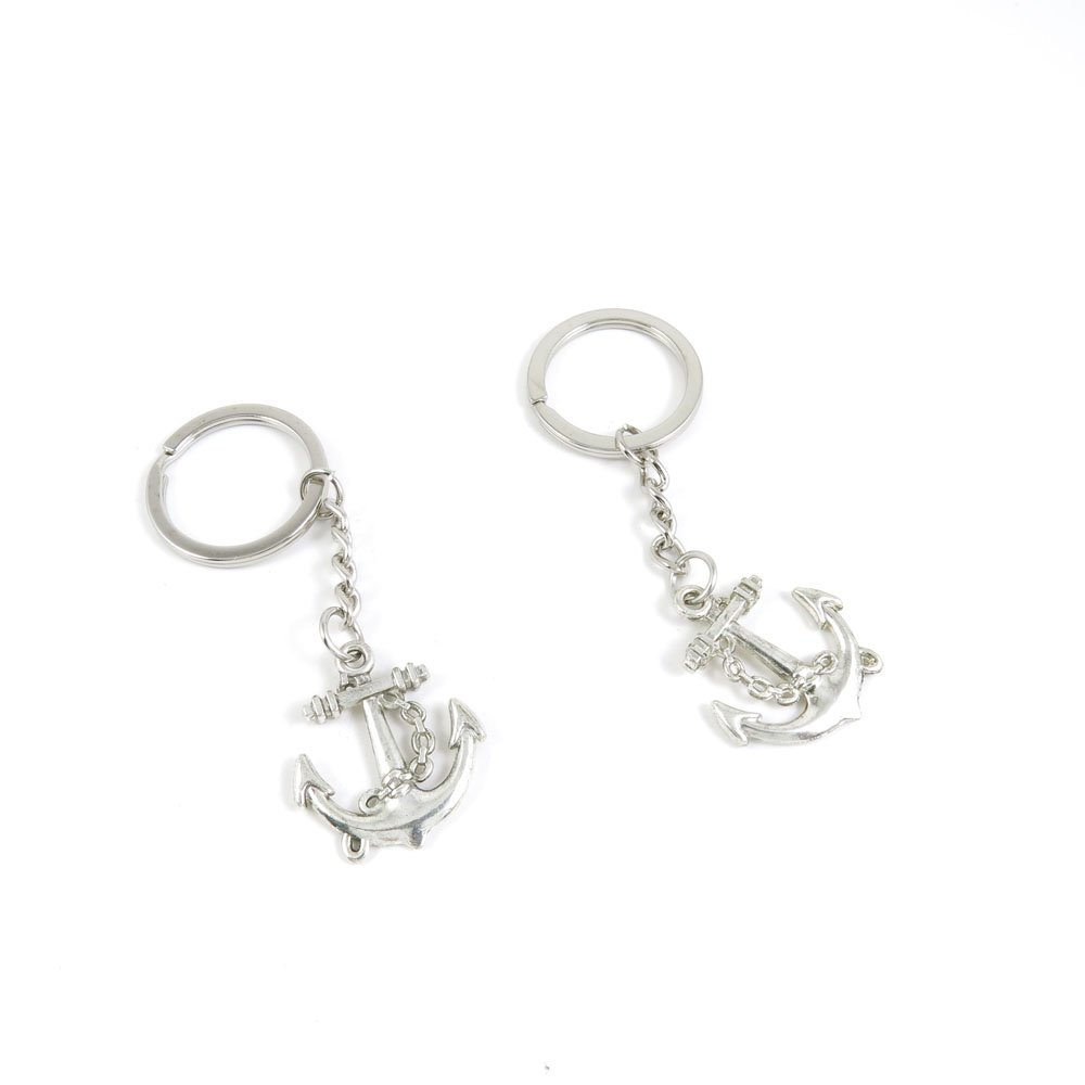40 Pieces Keychain Door Car Key Chain Tags Keyring Ring Chain Keychain Supplies Antique Silver Tone Wholesale Bulk Lots R8AX7 Boat Anchor by WOWGAME2009 KEYRING