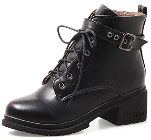 Easemax Women's Fashion Zip Up Round Toe Mid Chunky Heeled Short Ankle High Martin Boots Black 8fsneiw9d
