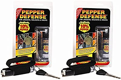 Pepper Defense (2 Pack) 10% OC Pepper Spray w/ Hand Strap for Jogging, Running, Walking, Hiking - Max Strength Police Formula - Emergency Self Defense Non Lethal Weapon for Safety and Protection