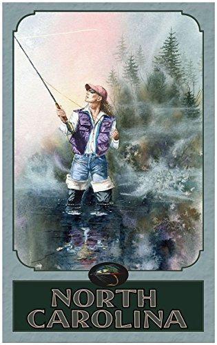 North Carolina Woman Fly Fishing Travel Art Print Poster by