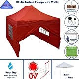 10'x15′ Ez Pop up Canopy Party Tent Instant Gazebos 100% Waterproof Top with 4 Removable Sides Red – E Model By DELTA Canopies Review