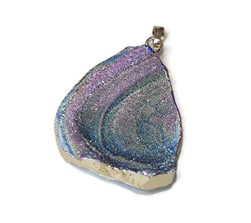 Rainbow Galaxy Stone, Druzy Pendant, Quartz Druzy Pendant. Agate Druzy Quartz Pendant - Irregular Shape - 45mm - 60mm