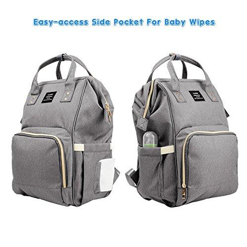 Pañal Mochila, Gran Capacidad Mummy Travel Nappy Tote Bolsa Bolsa de Enfermería Hombro Organizer con bolsas aisladas Stroller correas para el cuidado del bebé (Gris) Gris
