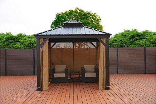 SORARA Hard Top Gazebo Canopy Cabana Sun Shelter with Iron Roof 10′ x 10′ feet (3 x 3 m) for Outdoor, Patio Shelter, Garden, Backyard, Pool, Lounge Area For Sale