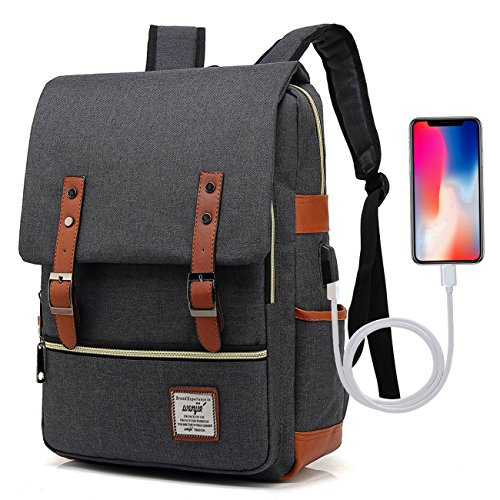 Adual Big Student Laptop Backpack with USB Charging Port, Classic Water Resistant travelling Backpack College Daypacks School Book Rucksack for Women Men, Fits up to 15.6 Inch Notebook, Black